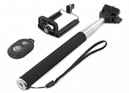 Bastão para Selfie - com Bluetooth - Preto