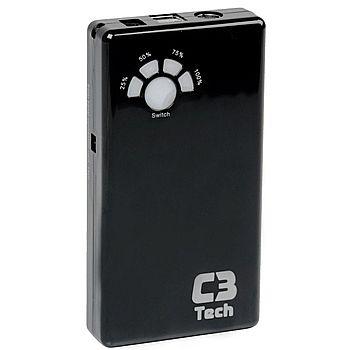 Power Bank Carregador Portátil C3 Tech UC-12000 - Bateria Externa 12.000mAh - USB - para Smartphones, Tablets