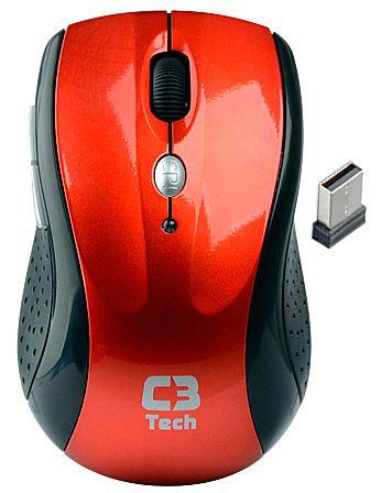 Mouse sem Fio C3 Tech M-W012 RD - 2.4GHz - 1600dpi - Vermelho