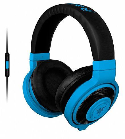 Fone de Ouvido Razer Kraken Neon - com Microfone destacável - com Controle de Volume - Conector 3.5mm - Azul - RZ04-01400600-R3U1