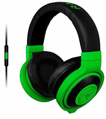 Fone de Ouvido Razer Kraken Neon - com Microfone destacável - com Controle de Volume - Conector 3.5mm - Verde - RZ04-01400100-R3U1