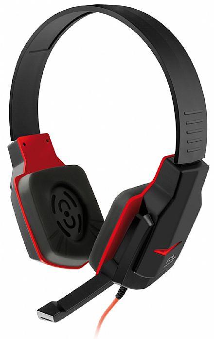 Headset Gamer Multilaser - com Controle de Volume - Conector 3.5mm - Preto e Vermelho - PH073