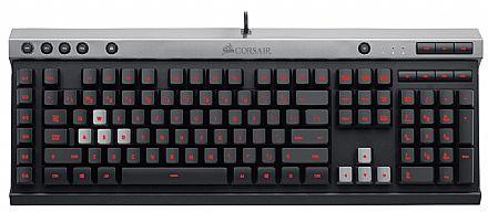 Teclado Gamer Corsair Raptor K30 - 7 teclas multimídia - LED Vermelho - Teclas Macro - CH-9000224-BR