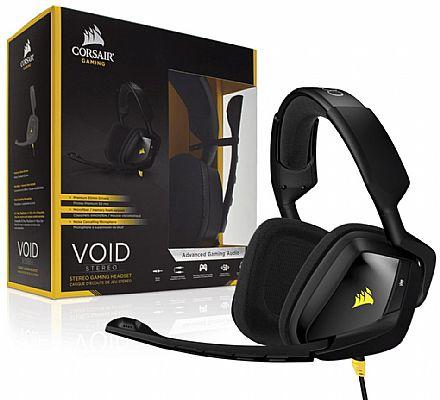 Headset Corsair Gaming Void Stereo CA-9011131-EU - com Cancelamento de Ruidos - Preto e Amarelo