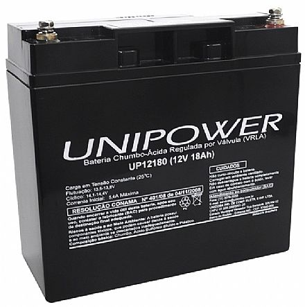 Bateria Selada para Nobreak - 12V / 18Ah - Unipower UP12180