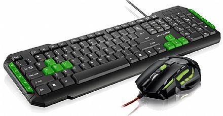 Kit Teclado e Mouse Gamer Multilaser - Verde - Teclas Multimídia - 2400dpi - Botão Atirador - TC201 / MO208