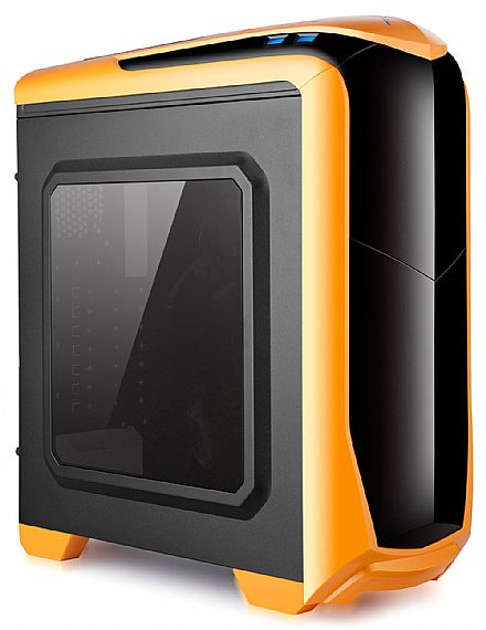 Gabinete Spire X2 Gamer Isolatic - USB 3.0 - Janela lateral em Acrílico - Laranja - X2-6020O-CE/R-2U3