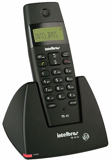 Telefone sem Fio Intelbras TS40 ID - DECT 6.0 1,9 Ghz - com Agenda e Identificador de Chamadas - Preto - Bivolt