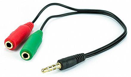 Cabo Adaptador P3 Macho para 2 P2 Fêmea 3,5mm - Fone e Microfone para Headset