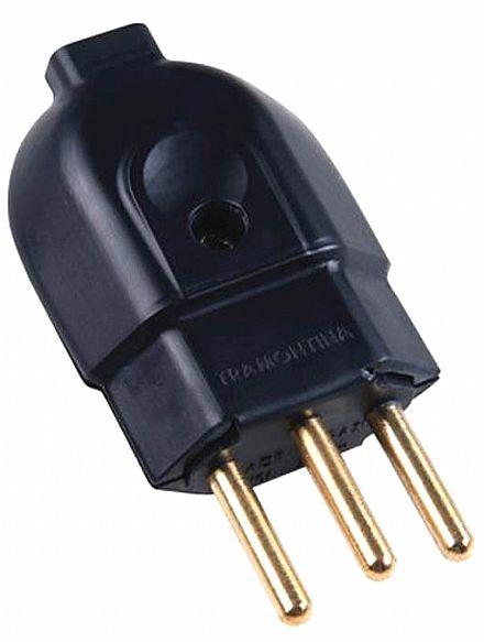 Plug Macho - 3 Pinos - 20A / 250V - Preto - Tramontina