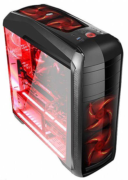 Gabinete Gamer Bluecase BG-024 - USB 3.0 - Janela Lateral de Acrílico - 5 Coolers Inclusos - LED Vermelho