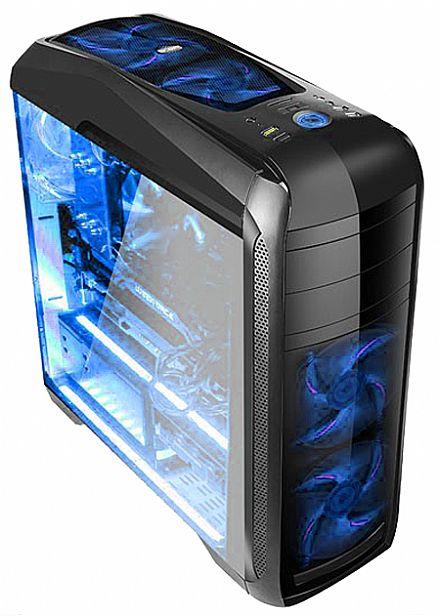 Gabinete Gamer Bluecase BG-024 - USB 3.0 - Janela Lateral de Acrílico - 5 Coolers Inclusos - LED Azul