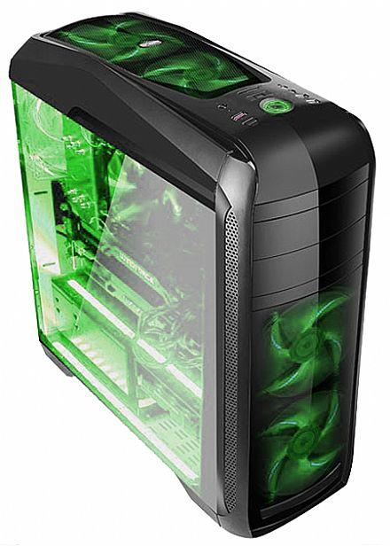 Gabinete Gamer Bluecase BG-024 - USB 3.0 - Janela Lateral de Acrílico - 5 Coolers Inclusos - LED Verde