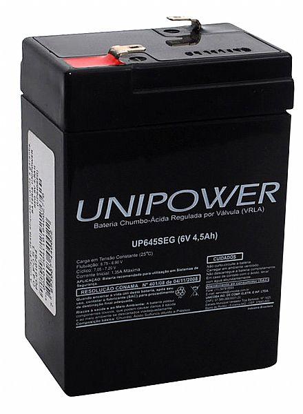 Bateria Selada para Sistemas de Monitoramento e Segurança - 6V / 4,5 Ah - Unipower UP645SEG