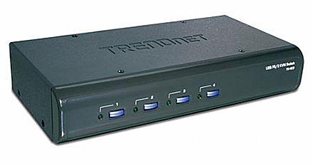 Chaveador KVM TrendNet TK-423K - 4 computadores em 1 monitor, teclado e mouse + Áudio - USB / PS/2 - com Cabos KVM Inclusos