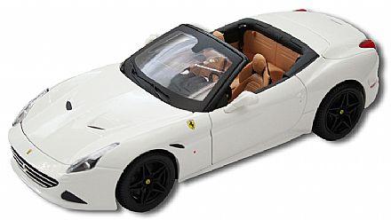 Miniatura Ferrari California T Branca (Modelo de topo superior aberto) - Escala 1:18 - Bburago 18-16904