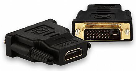 Adaptador Conversor DVI-D para HDMI - Dual Link - 24+1 Pinos (DVI-D M X HDMI F)