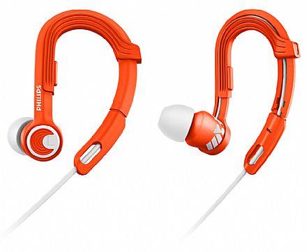 Fone de Ouvido Intra-Auricular Esportivo Actionfit Philips SHQ3300OR/00 - Gancho ajustável - Cabo reforçado - Conector 3.5mm - Laranja