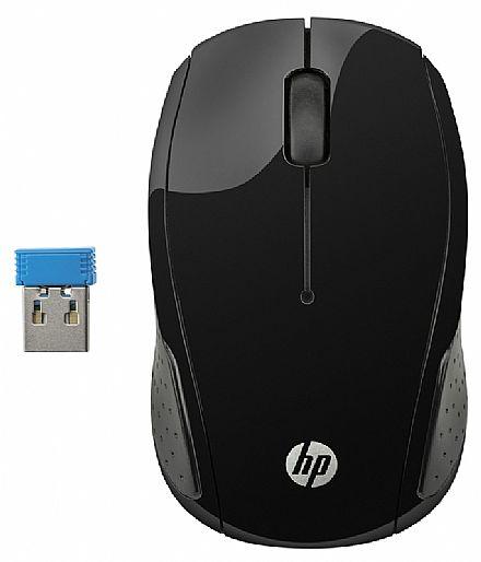 Mouse sem Fio HP X200 Oman - 2,4 GHz - 1000dpi - Preto - X6W31AAABL