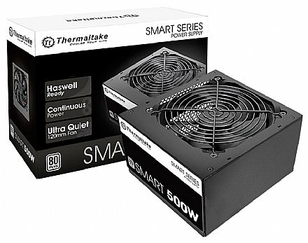 Fonte 500W Thermaltake Smart Series - PFC Ativo - Eficiência 80% - 80 PLUS® White - PS-SPD-0500NPCWBZ