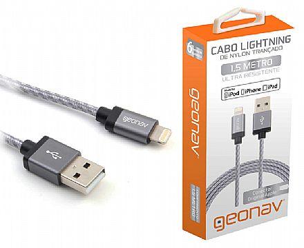 Cabo Lightning para USB - Para iPhone, iPad e iPod - 1,5 Metros - Revestido de Nylon Trançado - Geonav LIGH10T