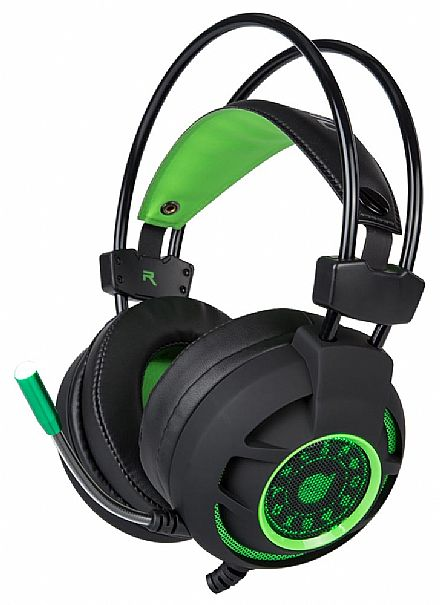 Headset Gamer Dazz Diamond - 7.1 Canais - com Controle de Volume e Microfone - Conector USB - Verde - 624685