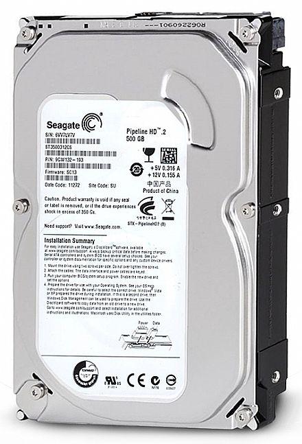 HD 500 GB SATA 2 - 3Gb/s - 5900RPM - 8MB Cache - Seagate Pipeline - ST3500312CS / ST3500410SV - Liquidação Open Box