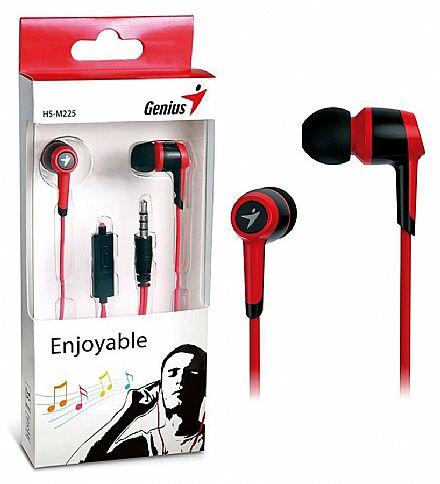 Fone de Ouvido Intra-Auricular Genius HS-M225 - com Microfone - Conector 3.5mm - Vermelho - 31710193102