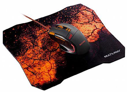 Kit Mouse e Mouse Pad Gamer Multilaser - 3200dpi - 8 Botões - MO256
