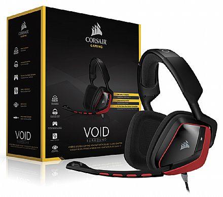 Headset Gamer Corsair Void Surround Preto e Vermelho - CA-9011144-EU - Adaptador USB - Dolby 7.1 - com Cancelamento de Ruidos