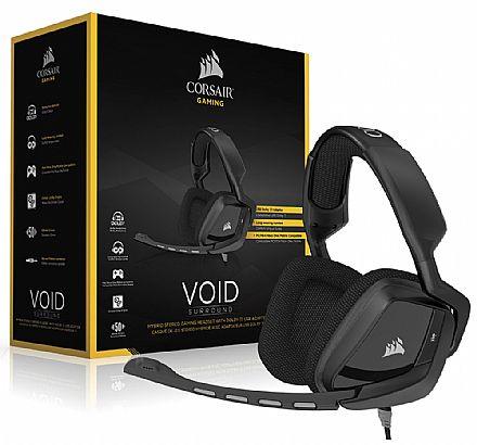 Headset Gamer Corsair Void Surround CA-9011146-EU - Adaptador USB - Dolby 7.1 - com Cancelamento de Ruidos - Preto