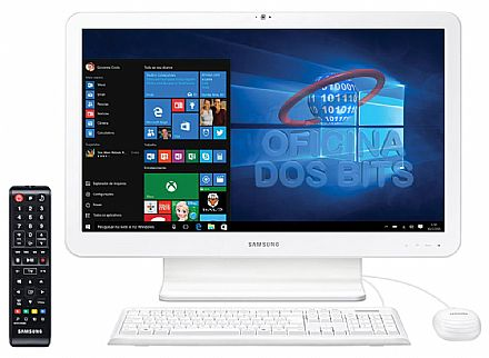 "Computador All in One Samsung E1 - Tela 21.5"" Full HD, Intel i5 6200U, 8GB, HD 1TB, TV Digital, Windows 10 - DP500A2L-KW4"