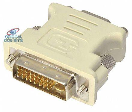 Adaptador Conversor DVI-I para VGA - Dual Link - 24+5 Pinos (DVI-I M X VGA F)