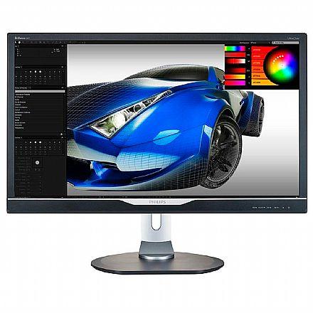 """Monitor 28"""" Philips 288P6LJEB/57 - Ultra HD 4K - Resolução 3840x2160 - 1ms - Som integrado - Ajuste de altura e Rotação - HDMI/VGA/DVI/DisplayPort"""