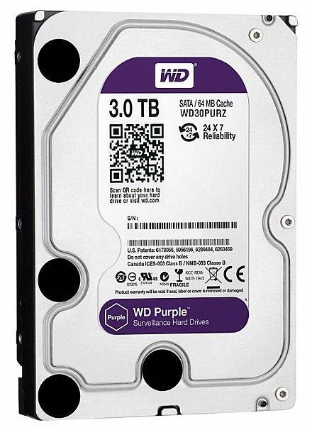 HD 3 TB SATA 3 - 6Gb/s - 5400RPM - 64MB Cache - Western Digital Purple Surveillance - WD30PURZ