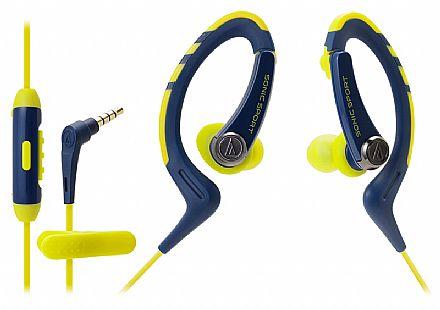 Fone de Ouvido Esportivo Audio-Technica - Intra Auricular - com Microfone - Azul e Amarelo - ATH-SPORT1ISNY