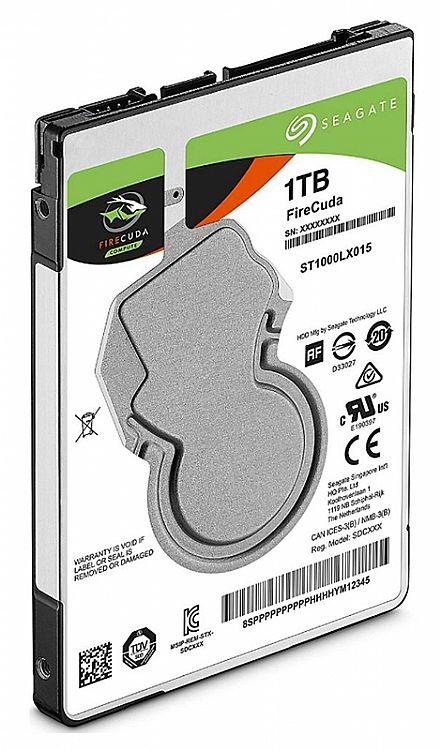 "HD 1 TB Hybrido SSHD - 2.5"" - 7mm - 8GB SSD - 128MB Cache - Seagate FireCuda - ST1000LX015"