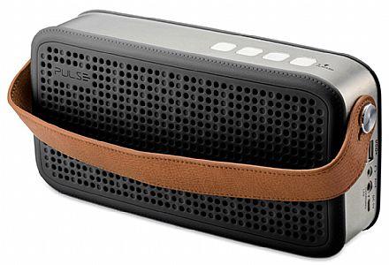 Caixa de Som Portátil Pulse Multilaser SP247 Hands Free - Bluetooth - 20W RMS - com Função Atender Chamada - Preto e Cinza