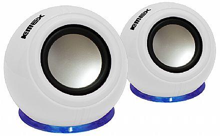 Caixa de Som K-Mex SP-U940 - Efeito com LED Azul - 3W RMS - Branca