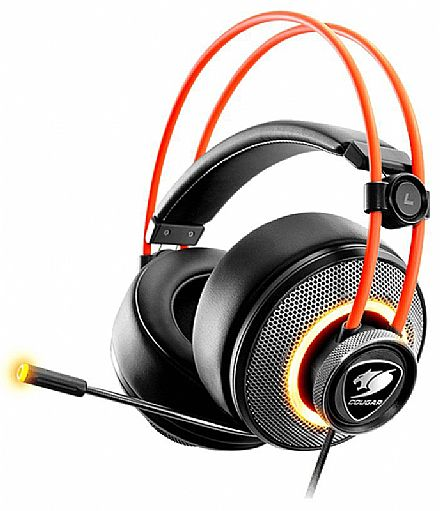Headset Gamer Cougar Immersa Pro - Ultimate 7.1 Virtual Surround - LED RGB - Conector 3.5mm e USB - Microfone Retrátil - CGR-U50MB-700
