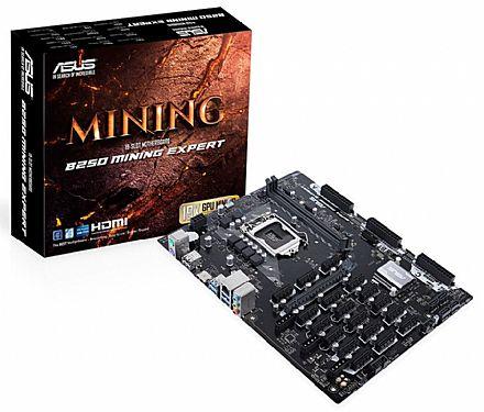 Asus B250 MINING EXPERT - (LGA 1151 - DDR4 2400) - Chipset Intel B250 - 18 PCIe x1 + 1 PCIe x16 - Ideal para Mineração