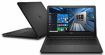 "Notebook Dell Inspiron i15-5566-R40P - Tela 15.6"" HD, Intel i5 7200U, 8GB, SSD 240GB, Windows 10 - Preto - Garantia 1 ano - Seminovo"