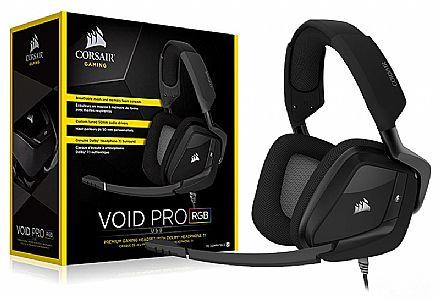 Headset Gamer Corsair Carbon Void Pro RGB CA-9011154 - USB - Dolby 7.1 - com Cancelamento de Ruidos - Preto