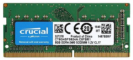 Memória SODIMM 8GB DDR4 2400MHz Crucial - para Notebook - Low Voltage 1.2V - CT8G4SFS824A