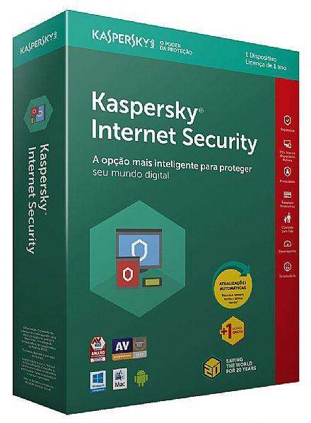 Kaspersky Internet Security - licença de 1 ano - 1 Dispositivo + 1 licença Grátis - para PC, Mac, Android, iPhone, iPad
