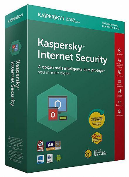 Kaspersky Internet Security - licença de 1 ano - 10 Dispositivos + 5 licenças Grátis - para PC, Mac, Android, iPhone, iPad