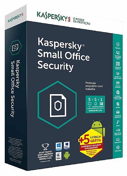 Kaspersky Small Office Security 6 - licença de 1 ano - 5 Dispositivos + 1 Servidor + 5 licenças Grátis - para PC, Mac, Android, iPhone, iPad - Versão Download