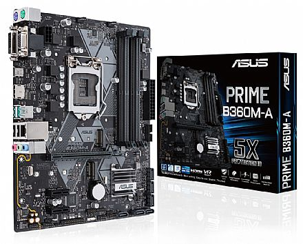 Asus PRIME B360M-A (LGA 1151 - DDR4 2666) Chipset Intel B360 - 8ª Geração Coffee Lake - USB 3.1 Tipo C - Slots M.2 - Micro AT