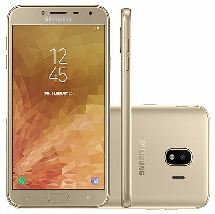 "Smartphone Samsung Galaxy J4 - Tela 5.5"" Super AMOLED, 32GB, Dual Chip, 13MP, Leitor de Digital - Dourado - SM-J400M"