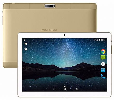 "Tablet Multilaser M10A Lite - Tela 10"", Quad Core 1.3GHz, 8GB, WiFi + 3G, Android 7.0 - Dourado - NB268"